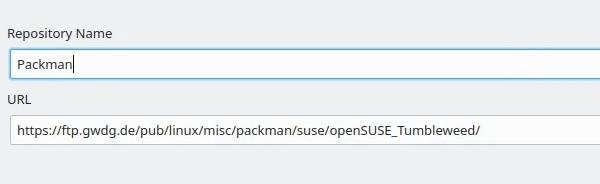 OpenSUSE adding Packman community repository