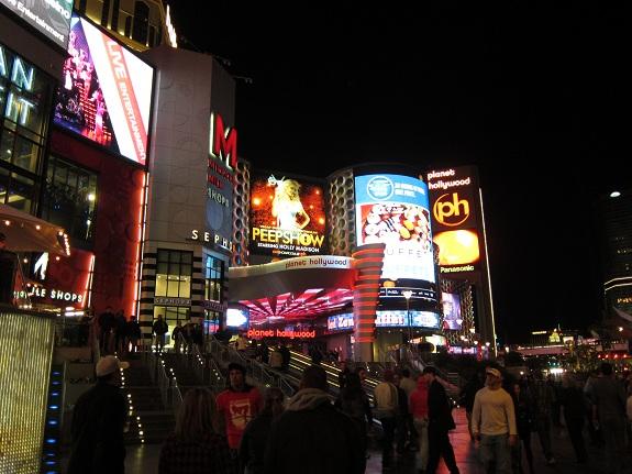 Las Vegas Strip at Night Planet Hollywood Hotel