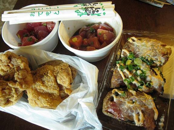 Poke, Chicken, and Inari from Taniokas Hawaii
