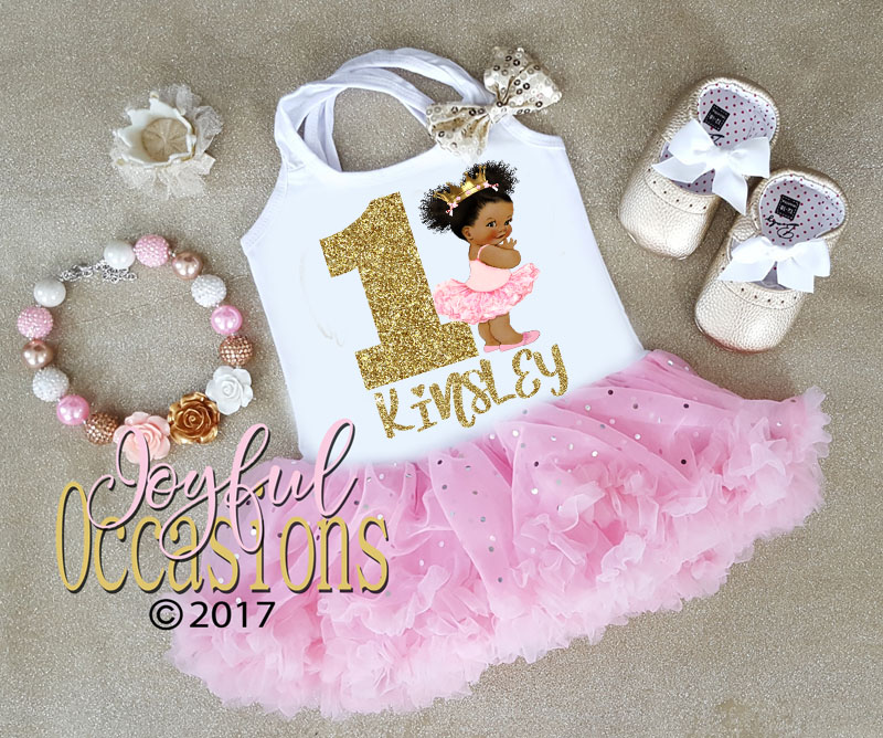 African American Pink And Gold Princess First 1st Birthday Tutu Dress For Baby Girl