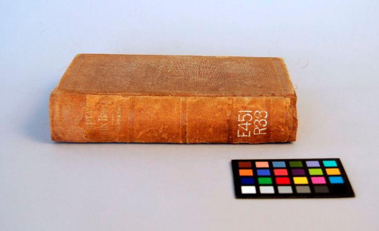 Brown buckram binding rebacked with toned brown cloth