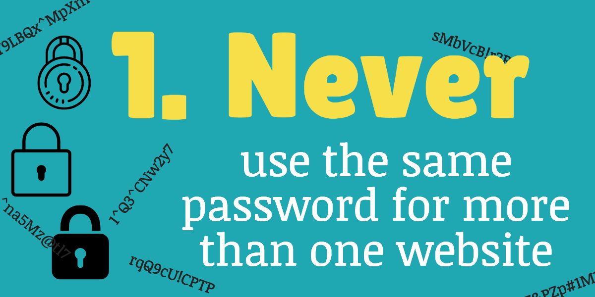 never use the same password for more than one website to improve internet security