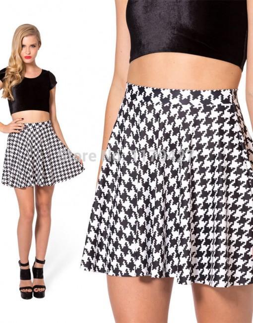 Summer Skirts Womens Arrival Hound Tooth Skater Skirt High Waist Fashion Mini Skirts Sexy Women Clothing