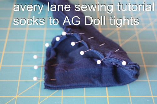 avery lane sewing tutorial socks to AG Doll tights 5