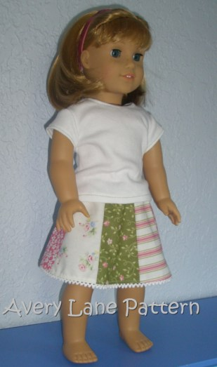 Country Skirt Pattern for American Girl Dolls AveryLaneSewing.com
