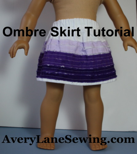 Matching Ombre Skirts Tutorial using faux chenille for girls and dolls AveryLaneSewing
