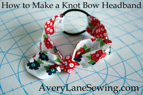 18 inch Doll Knot Bow Headband Sewing Tutorial AveyLaneSewing.com finished close-up