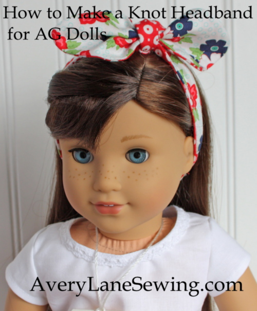 How to make a knot bow headband for American Girl Dolls Sewing Tutorial close up of knot bow headband finished