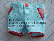1 Doll Days Modern Camp Shorts Sew Along AveryLaneSewing.com finished shorts with button