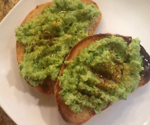 Lemony Pea Mash on Toast–It's not Guacamole!