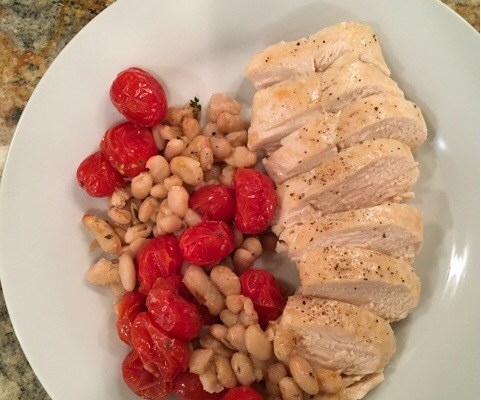 One-Pan Roasted Tomatoes and Chicken with White Beans
