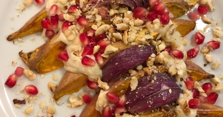 Roasted Sweet Potato Wedges with Yogurt Sauce, Pomegranate and Hazelnuts