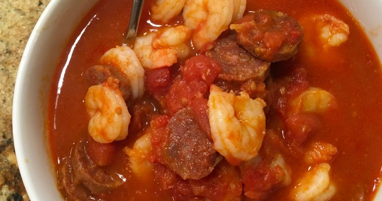 What's in the Fridge Chorizo and Shrimp Soup