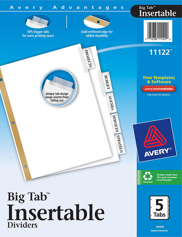 Inserts Template Big Dividers 11111 Tabs Avery