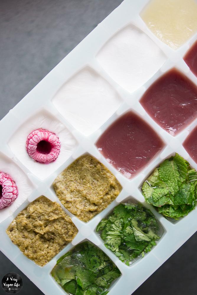 Lebensmittelverschwendung vermeiden, kleine Reste einfrieren: Pesto, Kokosmilch, Kräuter, Zitronensaft, Beerenpüree