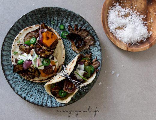 Tortillas vom Grill - Austernpilze, Paprika & Co. - vegan, laktosefrei - Rezept
