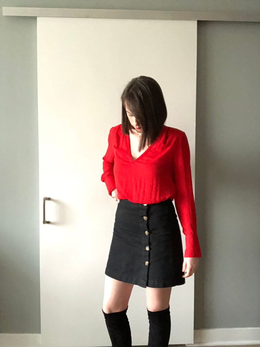 red h&m top new years outfit