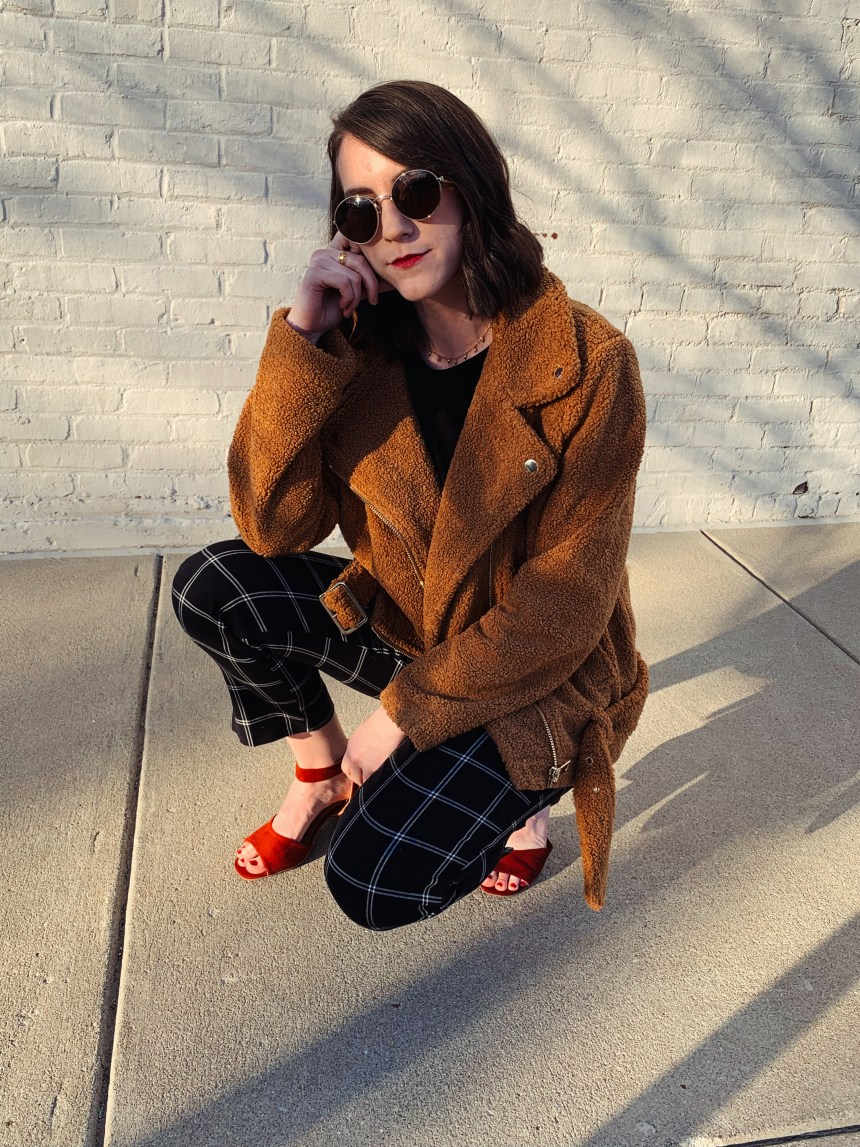 black plaid pants how to wear