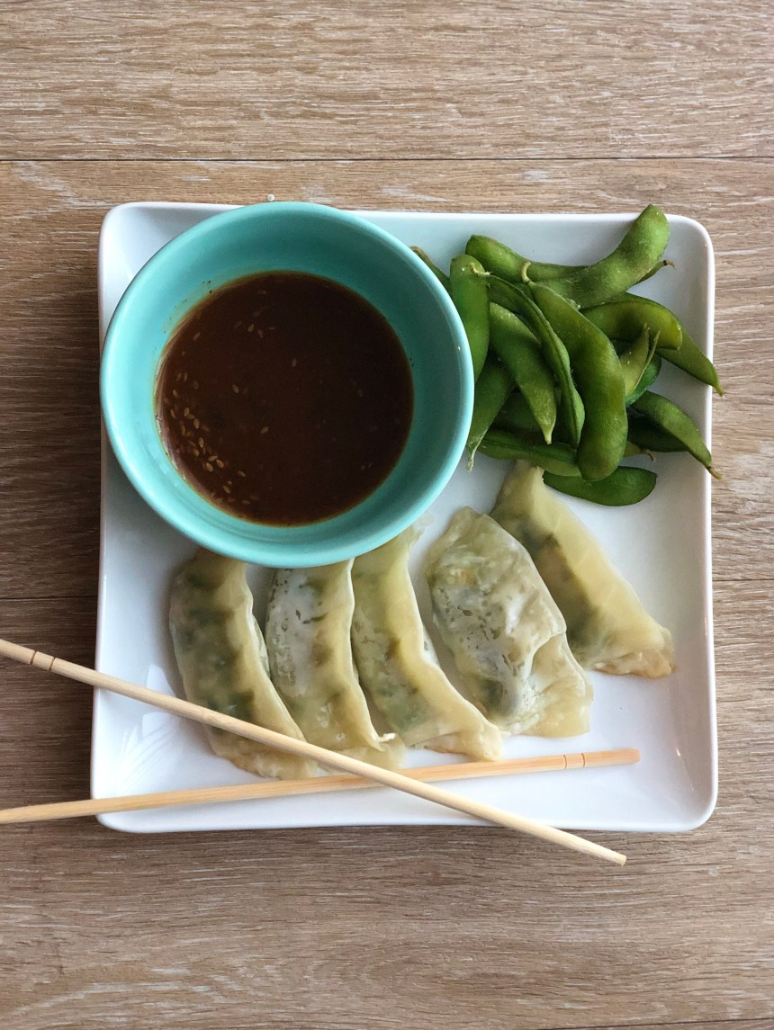 vegetable gyoza and edamame easy vegetarian meal idea