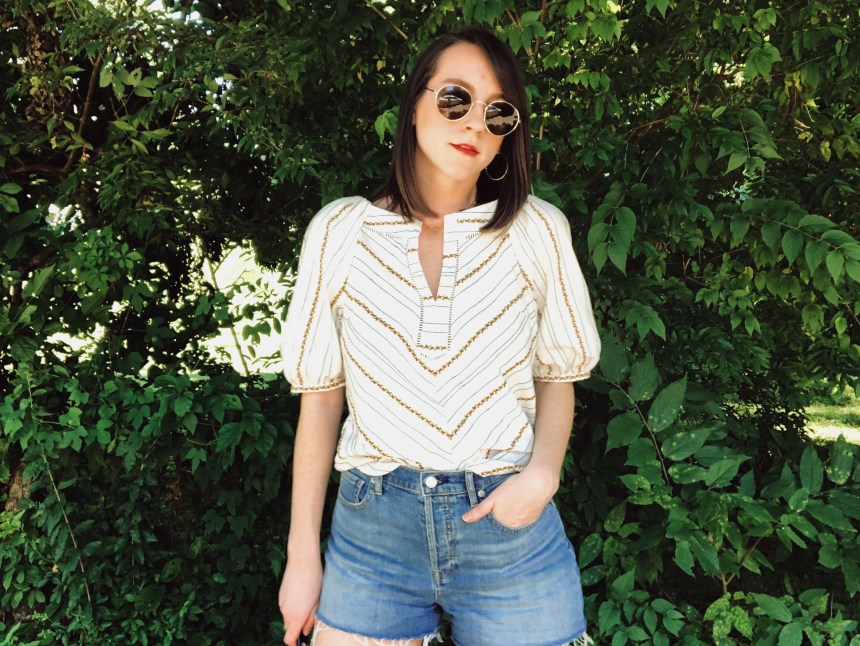 lemon printed white top