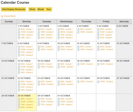 screenshot cursusformat Moodle calendar
