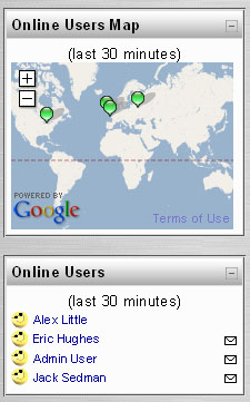 Moodle: blok online users map