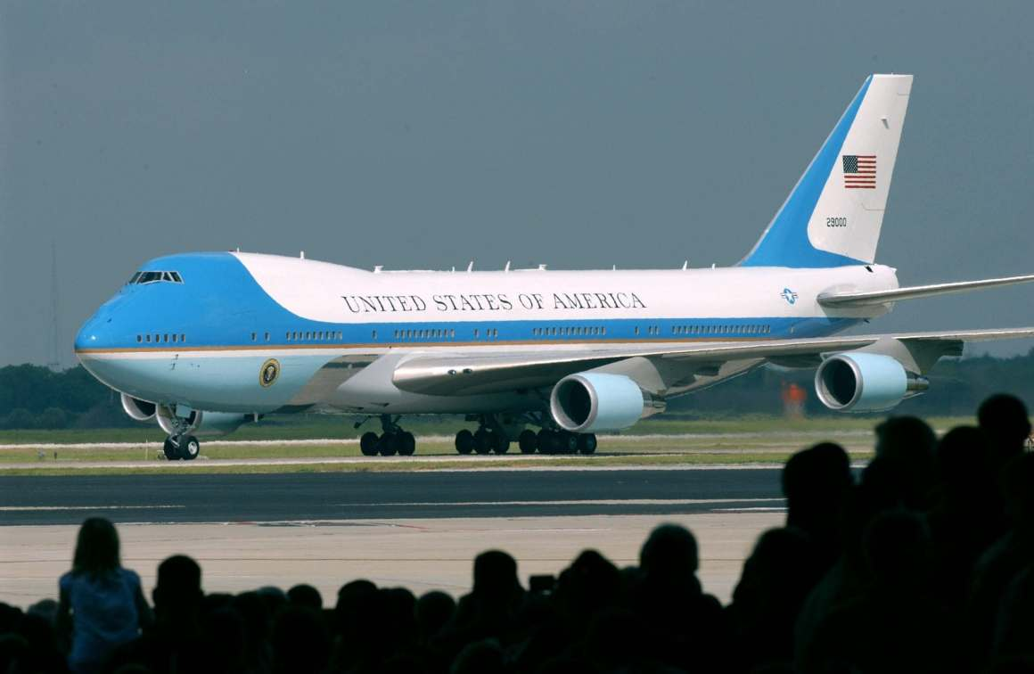 The Current Air Force One, SAM 28000, is a specially equipped Boeing 747, designated VC-25. Note: the call sign applies only when the President is on board. When the President is not aboard, the aircraft is identified by its tail number, 28000. (USAF Photo)