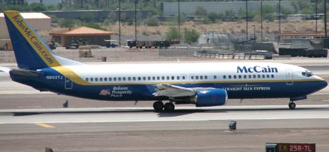 Senator John McCain's 737 lands at a campaign stop in 2008.