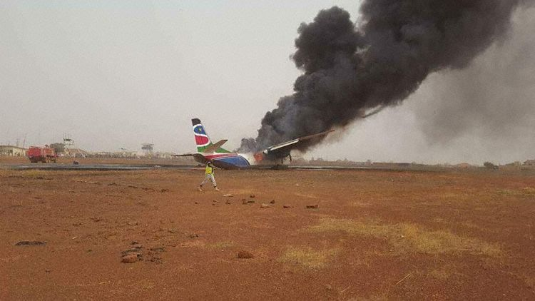 Aircraft in flames (Photo: Adil Faris)
