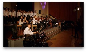 Seitenblick auf das AvH-Schulorchester beim 25. AvH-Weihnachtskonzert