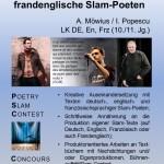 Plakat fuer die AvH Projektwoche Thema Ein Wettbewerb für frandenglische Slam-Poeten