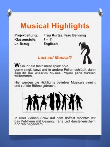 Plakat fuer die AvH Projektwoche Thema Musical Highlights
