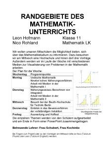 Plakat fuer die AvH Projektwoche Thema Randgebiete des Mathematikunterrichts