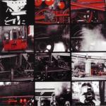 Sammlung urbaner Strukturen in schwarz-weiß-rot