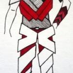 Figurine schwarz-weiß-rot