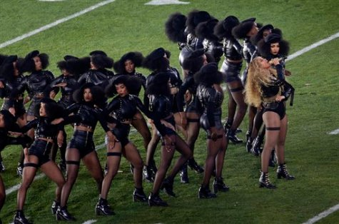 Beyoncé performs during halftime of the NFL Super Bowl 50
