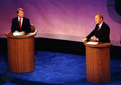 Gerald Jimmy Carter (left) and U.S. President Gerald Ford meeting in the first of three televised debates during the 1976 presidential campaign.