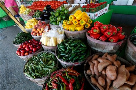 A well stocked stand of vegetables and fruits