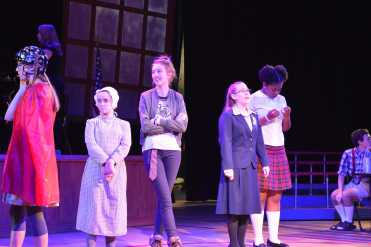 Rehearsal including students (Left to right) Kati Devitt, Brynn Berg, Lauren Bernard, Amanda Jackson and Uzo Ngwu