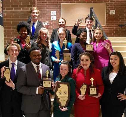 Apple Valley speech competitors with their awards.