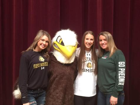 Seniors Sara Teske and Erin Baxter signed with South Minnesota State, and Lyndsey Robson signed with Green Bay.