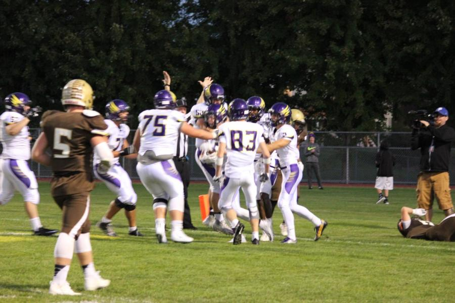 Chaska+celebrates+its+first+touchdown+in+a+win+over+Apple+Valley+in+AVHS%27+homecoming+game.