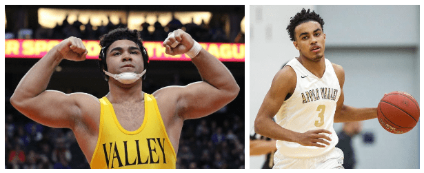 Gable+Steveson+%28left%29+and+Tre+Jones+were+both+standout+athletes+during+their+AVHS+careers.