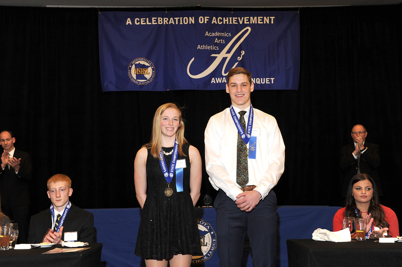 Molly+Moynihan+%28left%29+and+Spencer+Rolland+%28right%29+at+Triple+A+MSHSL+Banquet.