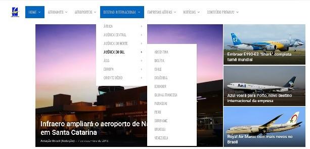 , Aviação Brasil ajusta seu menu de navegação no Portal, Portal Aviação Brasil