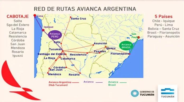 Rutas de Avianca Argentina desde Tucumán