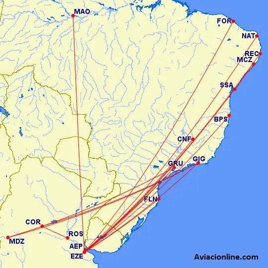 Malla de vuelos entre Brasil y Argentina de Gol (Bs. As. - Manaus desde el 04/02/2017; Bs. As. - Belo Horizonte desde el 05/03/2017; Mendoza - Río de Janeiro hasta el 25/02/2017)