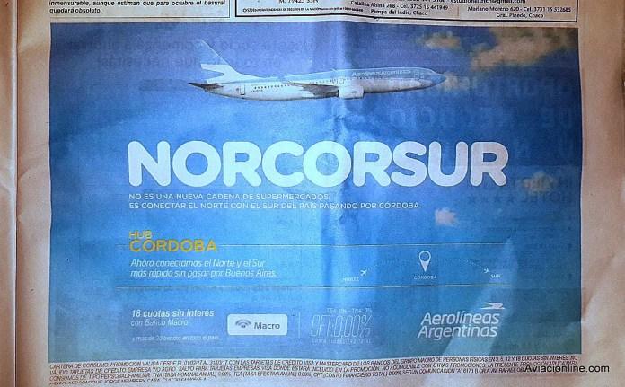 Aerolíneas Argentinas - hub Córdoba - Norcosur