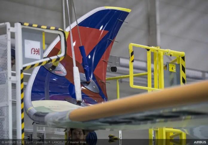 El primer A350-900 de Delta Airlines siendo ensamblado en febrero de 2017.