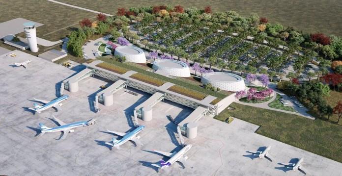 Render de la nueva terminal del aeropuerto de Tucumán, diseñada por César Pelli.